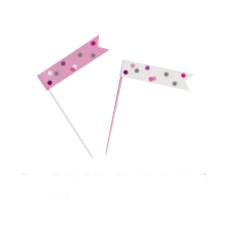 Smeigtukai-vėliavėlės, rožinės pilkos (6 vnt.)