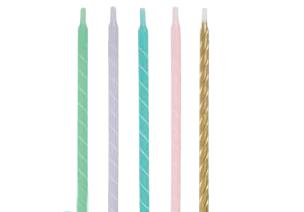 Žvakutės, pasteliniai-auksiniai suktukai (12 vnt.)