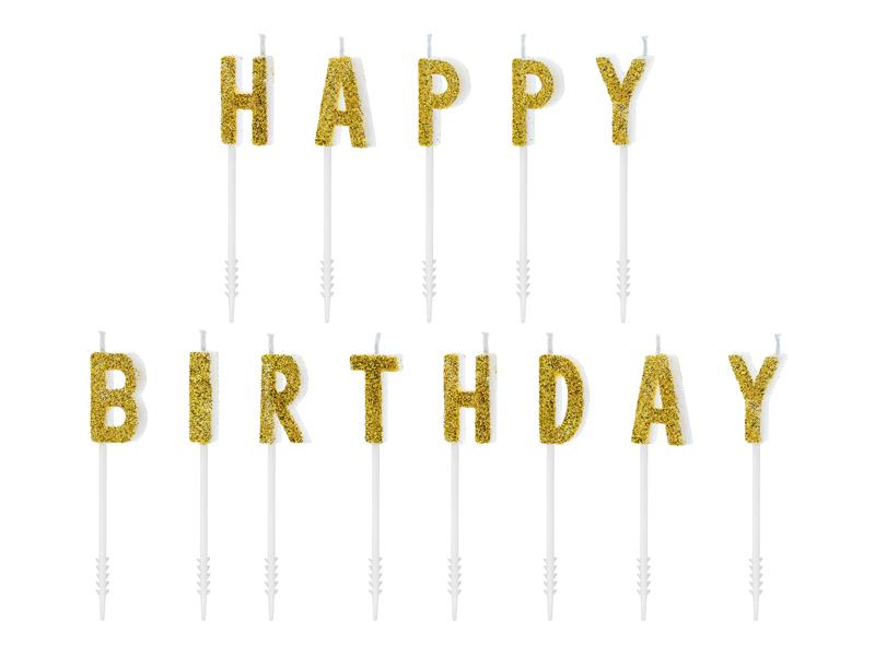"""Žvakutės-smeigtukai """"Happy Birthday"""", auksinės"""