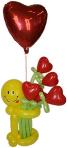 """Balionų figūra """"Šypsenėlė su širdelėmis""""  1"""