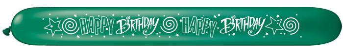 """Modeliavimo balionai""""Happy Birthday"""", įvairiaspalviai (25vnt./15cm.x162cm. Q646)"""