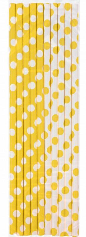 Šiaudeliai, taškuotai geltoni (10 vnt.)