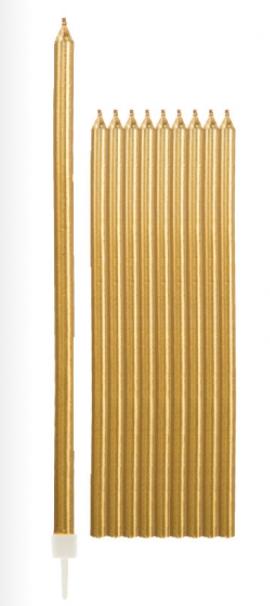 Žvakutės, ilgos auksinės (10 vnt./15 cm)