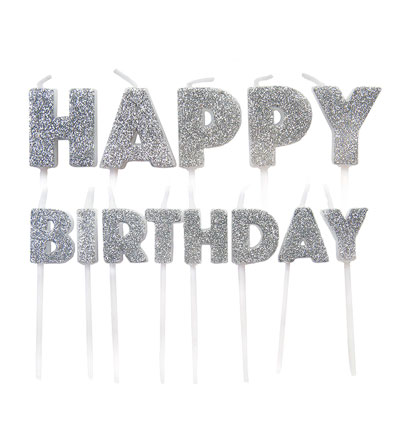 """Žvakutės-smeigtukai """"Happy Birthday"""", sidabrinės"""